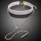 Light Grey Velvet Choker with Gold Chain