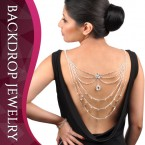Center Rhinestone with Layered Chain 3 Way Casual & Evening Backdrop Necklace