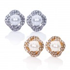 Faux Pearl Rhinestone Flower Clip on Earrings
