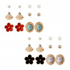 Flower & Vintage 6 Pair Stud Earrings Set