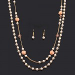 Pearlescent Rose Layered Necklace and Earrings
