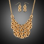 Multi-Circle Link Toggle Chain Necklace and Earrings
