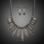 Rhinestone Fringe Chain Necklace and Earrings