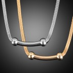 Curved Line with Double Side Circle Necklace