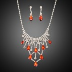 Multiple Teardrop Red Rhinestone Necklace and Earrings