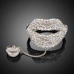Big Mouth Rhinestone Bracelet with Ring