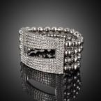 Rectangle Cutout Rhinestone with Multi-Layer Elastic Bracelet