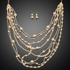 Layered Cream Pearl Necklace and Earrings