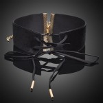 Wide Black Velvet Tie Up Choker