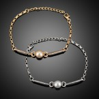 Pearl & Rhinestone Bar Bracelet
