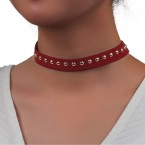 Suede Studded Choker Necklace