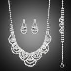 Semicircle Layered Rhinestone Necklace, Earrings and Bracelet Set