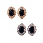 Oval Black Gemstone Clip on Earrings