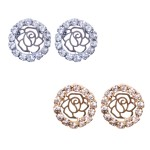 Rhinestone Rose Circle Stud Earrings