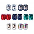 Rhinestone Radiant Cut Stud Earrings