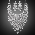 Layered Rhinestone Statement Necklace and Earrings