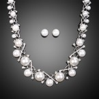 Pearlescent Cluster Necklace and Earrings
