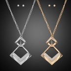 Double Squares Necklace and Earrings