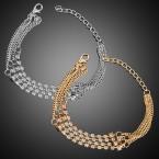 4 Layered Rhinestone with Chain Bracelet