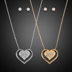 Heart Rhinestone Thin Snake Chain Necklace and Earrings