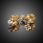 Cross Cube & Rhinestone Stud Earrings