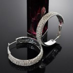 3-Line Rhinestone Hoop Earrings-Choose Your Size!