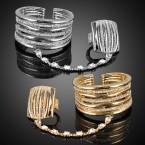 Rhinestone Bangle Bracelet with Ring