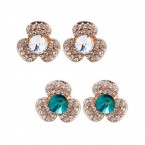 Rhinestone Three Leaf Clover Clip on Earrings