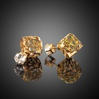 Flower Cube & Rhinestone Stud Earrings