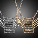 Three Part Connected with Twisted Line Necklace