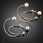Pearl & Rhinestone Hoop Earrings