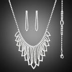 Gorgeous Rhinestone Fringe Necklace, Earrings and Bracelet Set