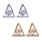 Rhinestone Triangular Geometry Stud Earrings