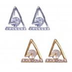 Rhinestone Triangular Geometry Stud Earrings