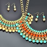 Multi Bead and Multi Line Necklace & Earrings
