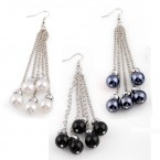 5 Chain Pearlescent Dangle Earrings