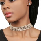 Multi-Layered Rhinestone Statement Choker and Earrings Set