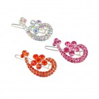 Charming Twin Heart with Flower Centers Rhinestone Hair Pin