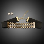 Cross Shaped Rhinestone & Chain Chocker with Faux Earrings