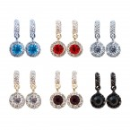 Rhinestone Circle Dangle Stud Earrings