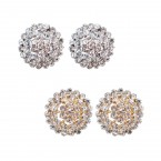 Round Pointy Convex Rhinestone Clip on Earrings
