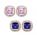 Rhinestone Squared Stone Trim Clip on Earrings