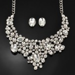 Oval Princess Rhinestone Necklace and Earrings