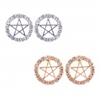 Rhinestone Star Circle Stud Earrings