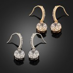 Curved Rhinestone and Faux Circle Stone Earrings