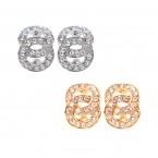 Rhinestone Double Circle Knot Clip on Earrings