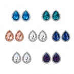 Gemstone Rhinestone Trim Stud Earrings