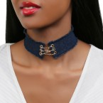 Gold Chain Cross Corset Denim Choker