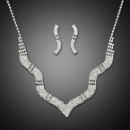 Waven Wedding Bridal Prom Layered Rhinestone Necklace and Earrings
