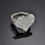 Flat Heart Rhinestone Ring